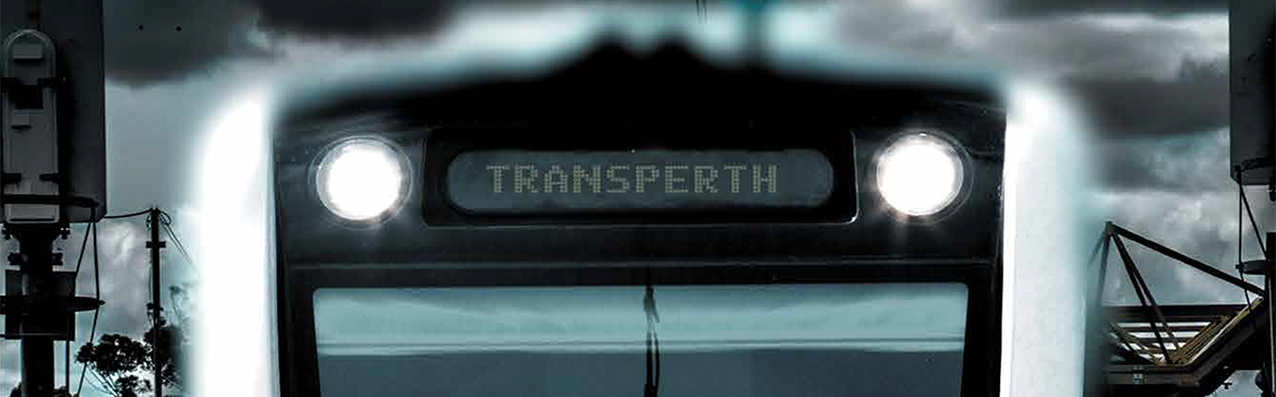 Banner image of a train with the destination screen reading Transperth